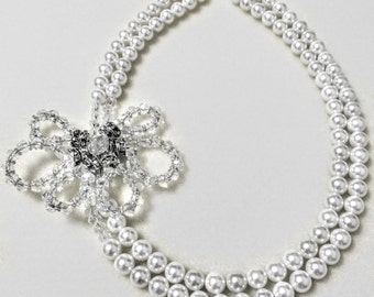 """18""""White Shell Pearl &Crystal Necklace"""