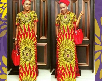 Ankara Maxi Dress, African Clothing, African Maxi Dress with Pockets