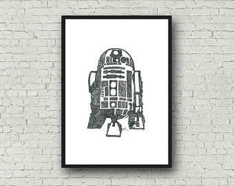 R2-D2 Star Wars Zentangle A4 Art Print