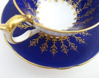 Vintage Aynsley Tea Cup Set, Vintage Aynsley Cobalt and Gilt Tea Cup and Saucer, Aynsley Mid Century Tea Cup and Saucer, 1947 to 1950