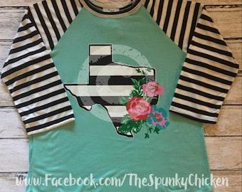 Ladies Mint Striped Texas Floral Shirt