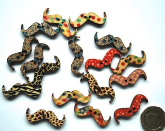 10 Wooden Moustache Buttons - Various designs - Ideal for Scrap Booking or Card Embellishments - UK Seller