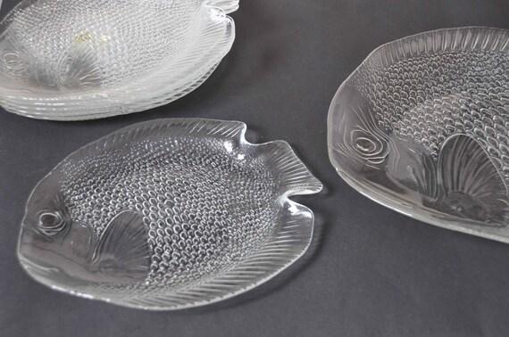 Set 6 assiettes plat en verre design poisson arcoroc for Service de table en verre