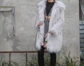 LONG fur coat -Mongolian Lamb faux fur coat- Faux fur  winter coat- Fashion fur coat- exotic fur jacket- Gray Shaggy Faux Fur- boho fur coat