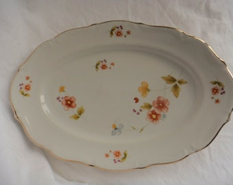 """Walbrzych Oval Platter 13"""" White with orange flowers WLB80 Made in Poland"""
