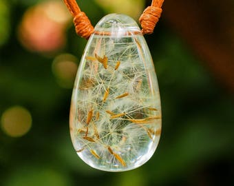 Dandelion Seeds in Clear Resin; Resin Pendant, Resin Jewelry