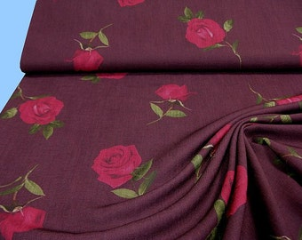 Lighter raspberry dress fabric with roses