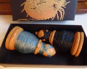 Chess Spool Bishop Mercerised Cotton Reel thread vintage haberdashery Blue