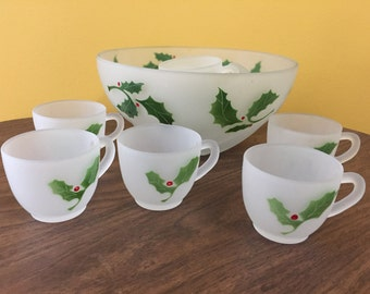 Federal Glass Holiday Punch Bowl - 10 cups