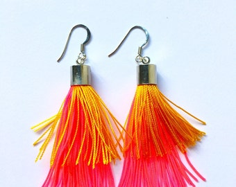 Tassel Earrings Dempse and Co Orange Fluorescent Pink