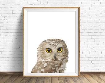 "owl art print, instant download printable art,  woodland animals, animal prints, wall art, large art, large wall art, modern - ""Bright Eyes"""
