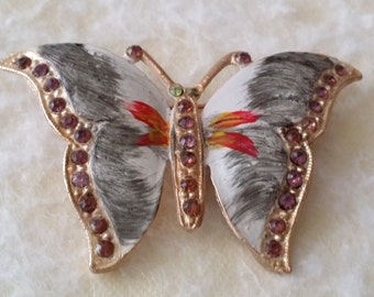 STUNNING Vintage Gold Tone Enamel Butterfly Pin Brooch