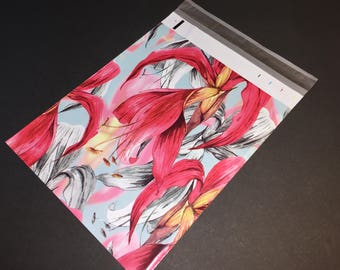 25 Designer Poly Mailers 10x13 RED Tropical Flowers Envelopes Shipping Bags Spring Mother's Day