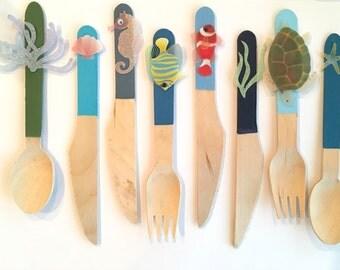 Ocean fun II - coastal nautical birch wood flatware
