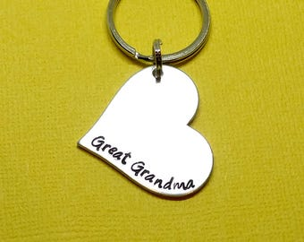 Great Grandma Heart personalized hand stamped keychain, hand stamped keychain, Great Grandma keychain, custom text keychain, heart keychain