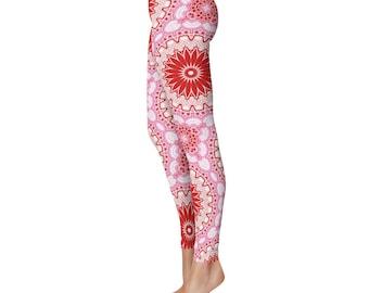 Leggings Yoga Art Print Leggings - Gypsy Boho Yoga Pants, Red and Pink Mandala Yoga Leggings, Printed Art Tights, Stretchy Pants