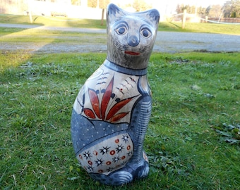 Large Vintage Tonala Cat Figure Hand Painted Pottery Mexico Manner of Ken Edwards