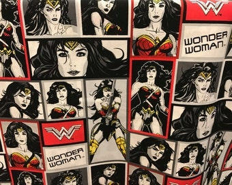 DC Comics Wonder Woman fabric, super hero fabric, girl fabric, cartoon fabric, comics fabric