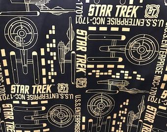 Star Trek black and gold fabric, movie fabric, trekkie fabric, geek fabric, novelty fabric, Star Trek