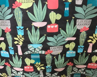 Succulents fabric, plant fabric, nature fabric, novelty fabric, summertime, cactus