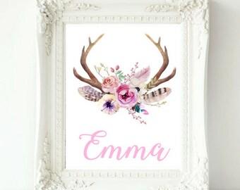 Personalized Baby Girl Name Print, Boho Nursery, Custom Name Print, Baby Girl Nursery Wall Art, Deer Antler Print, Kids Room Decor