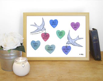 "Watercolour Print ""Love is patient, love is kind, love never fails"" - 1 Corinthians 13:4-8 (Christian Bible verse)"