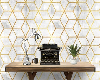 Gold Geo Cement Wall Covering Art  Removable Self-Adhesive Wallpaper