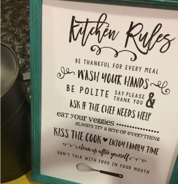 Kitchen Courtesy Signs: Dining Room Wall Art Sign Funny Kitchen Rule Sign Table