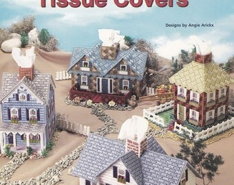 Country Cottage Tissue Covers, House of White Birches Plastic Canvas Pattern Booklet 181083 RARE NEW
