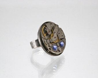 Ring watch style Steampunk Swarovski blue