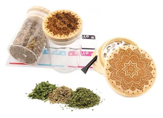 Mandala Engraved Premium Natural Wooden Grinder & Wood Lid Glass Jar Gift Set # GS103116-19