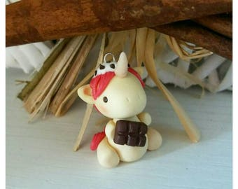 Unicorn with chocolate bar and stracciatella ice cream : kawaii polymer clay fantasy charm