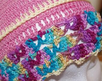 Funky and Fun Boho, Hippie Summer Crochet Thread Beanie...Chemo Cap