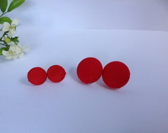Handmade Red Fabric Button earrings