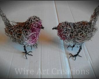 Handmade wire Robin.