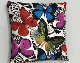 Multi Color Butterfly Pillow / Suede Pillow  / Decorative Pillow