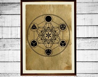 Platonic solids print, sacred geometry print, metatron cube poster,  flower of life print, occult antique metatron print aged paper