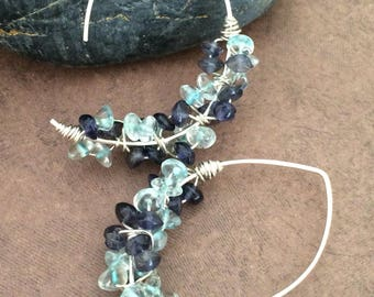 Aquamarine and Blue Jade wire wrapped Earrings, Threader Sterling Silver Blue Gemstone Earring