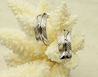 Feather Hoop Earrings, Silver Feathers, Post Earrings, Sterling Silver Feather Earrings