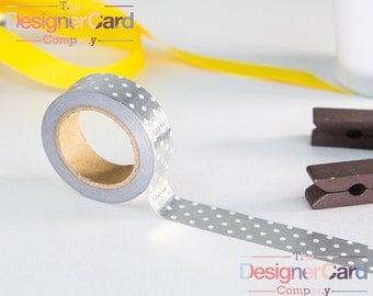 Metallic Silver & White Polka Dot Washi Tape Masking Tape Spots Dots