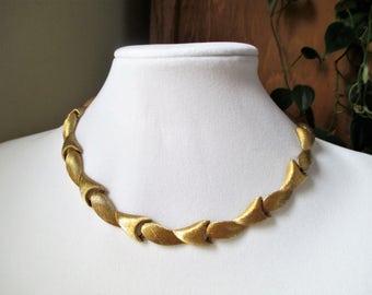 Monet Choker Necklace Gold Tone Mod Necklace Brushed Textured Gold Tone 60s Signed Monet