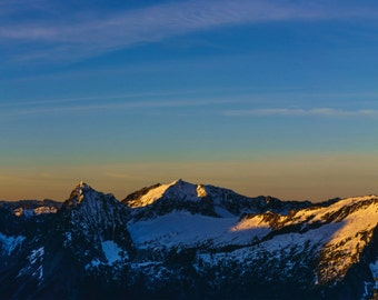 Washington Landscape Photography, Cascade Mountains Photo, Large Panoramic Print, Snow Capped Mountain, Sunrise Alpenglow,Mountain Ridgeline