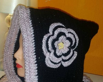 Crochet hooded cowl, hoodie with flower, cowl with hood