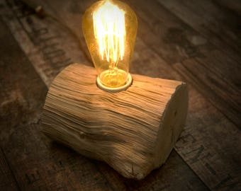 Wood lamp, Rustic wood lamp, Edison bulb lamp, Natural lamp, Home decor lamp, Handmade lamp, Night lamp
