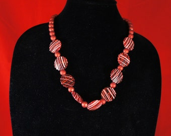 Beaded Necklace With Red Beads
