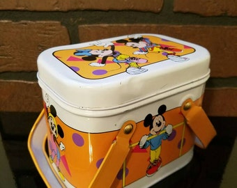 1980s Mickey and Minnie Mouse Small Lunch Box