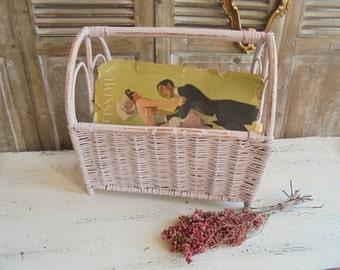 Shabby pink basket magazine rack