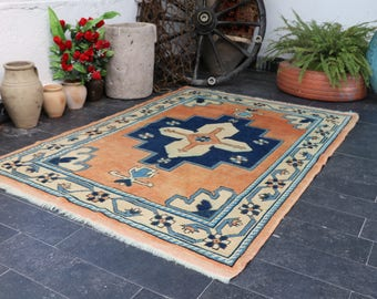 Vintage Oushak 3.8 x 5.4, FREE SHIPPING Turkish Handmade Rug, Turkish Wool Rug, Special Turkish Rug Vintage Floor Rug No 269