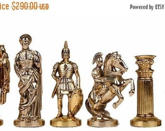 For Sale Romans Brass&Nickel Chess Set - Hand Made in Greece - Brown Board