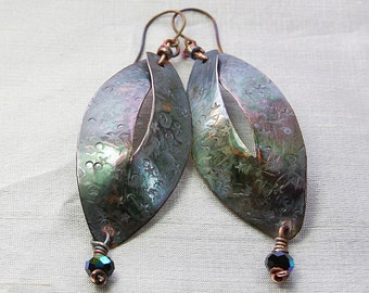 Star Scar Spangle Dangle Leaf Earrings with Titanium Ear Wires